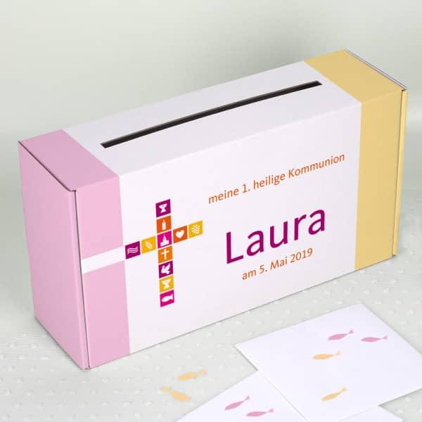 Briefbox für Mädchen zur Kommunion, Konfirmation oder Taufe, mit  Name und Wunschtext