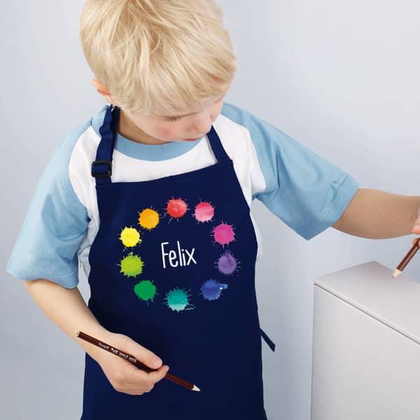 Kinderschürze mit Farbklecks-Motiv von Striefchen
