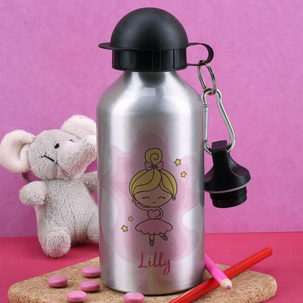 Silberne Trinkflasche mit Ballerina und Ihrem Wunschname