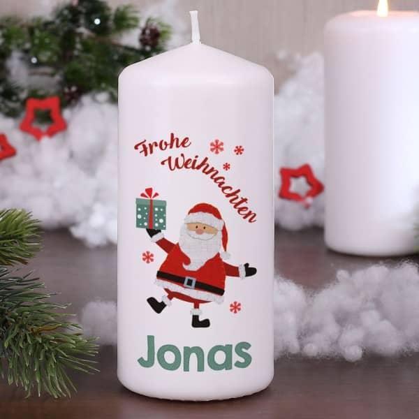 Weihnachtskerze mit Weihnachtsmann und Name