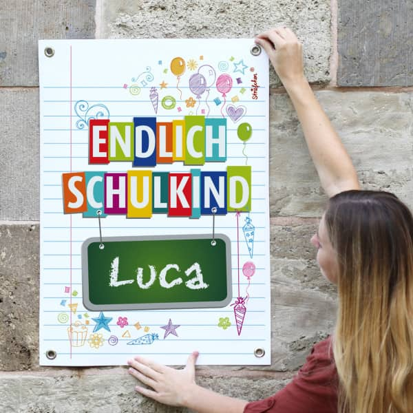 Poster Einschulung Endlich Schulkind Name