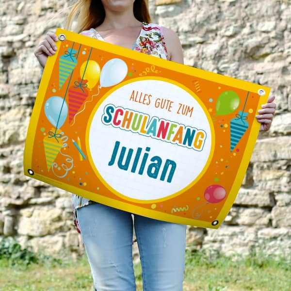 Farbenfrohes Banner zur Einschulung mit Name