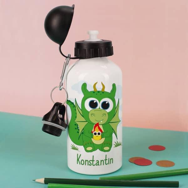 Drachentrinkflasche mit Wunschname bedruckt
