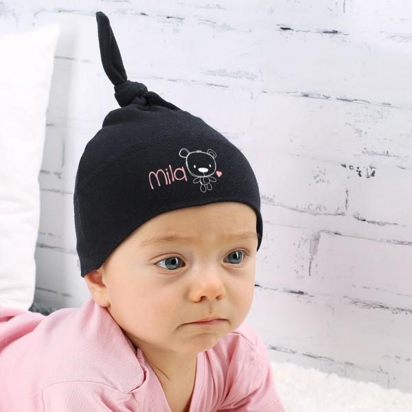 Schwarze Babymütze für Mädchen