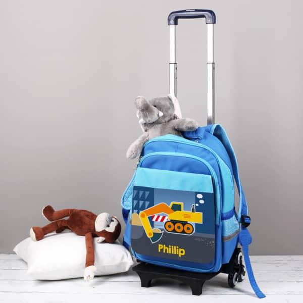 Blauer Trolley für Kinder mit Baggermotiv