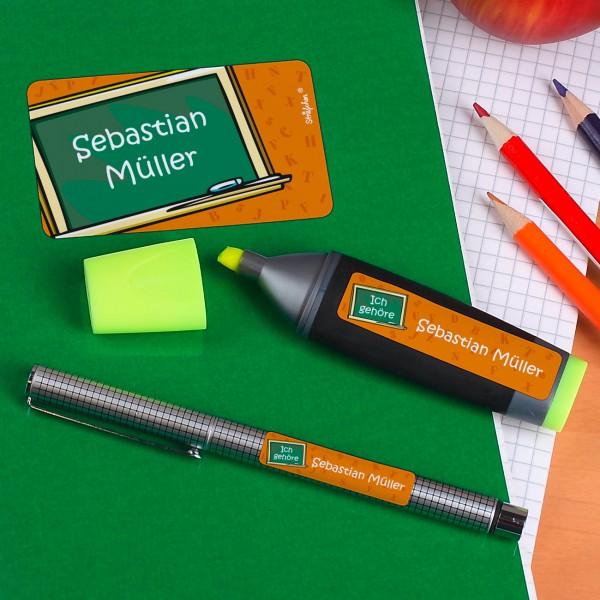 Namensticker - Ich gehöre - mit Tafel in orange