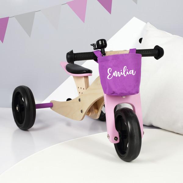 Dreirad für Kinder mit bedrucktem Körbchen