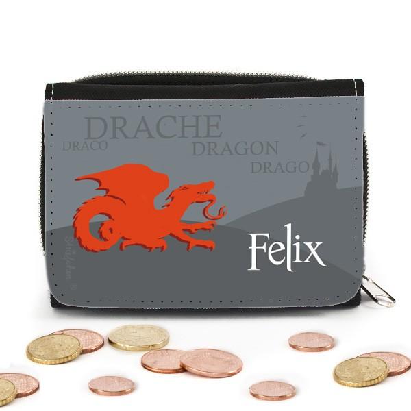 Geldbörse mit Namen und Drachen