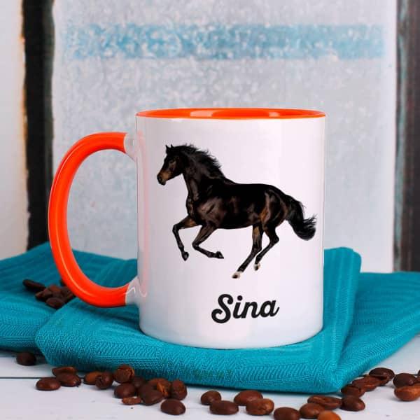 Tasse mit schwarzem Araber Pferd und Name