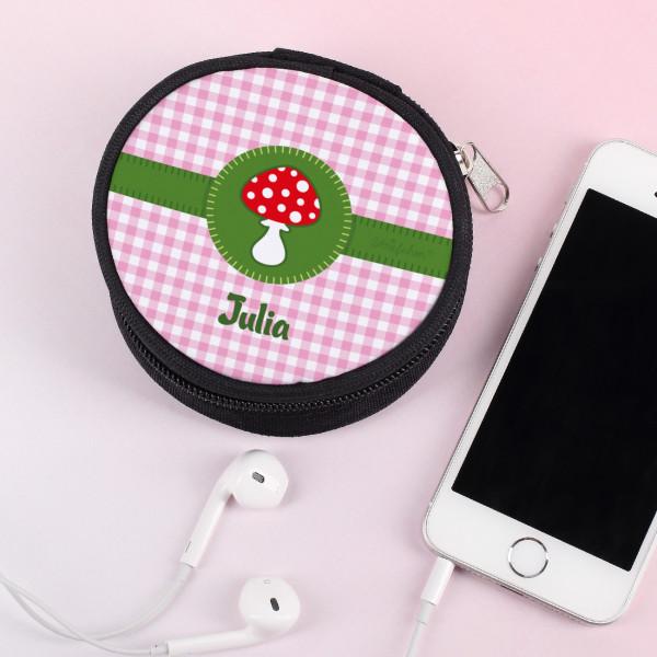 Kopfhörertasche mit Glückspilz bedruckt