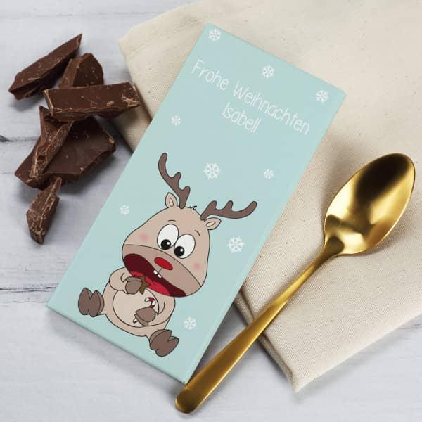 Schokolade 100 g mit Rentier und Ihrem Text auf der Verpackung