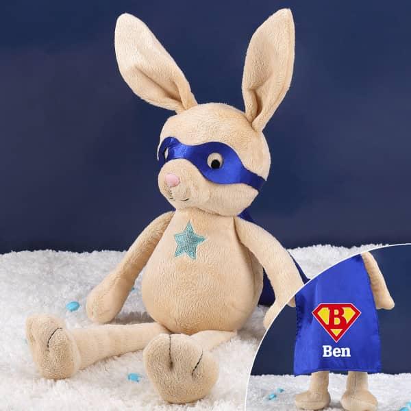 """Kuschelhase """"Rocket Rabbit"""" mit Ihrem Wunschnamen und Initiale"""