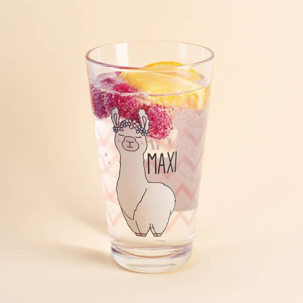 Trinkglas mit Lama und Wunschname bedruckt