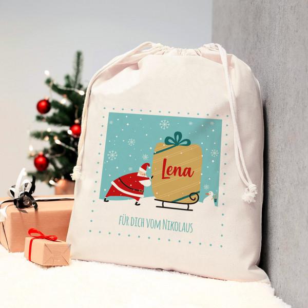 Weihnachtlicher Geschenkesack mit Name und Wunschtext