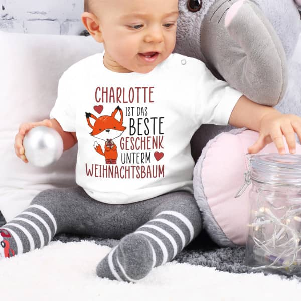 Baby TShirt mit Fuchs, süßem Spruch und Name nach Wahl zu Weihnachten