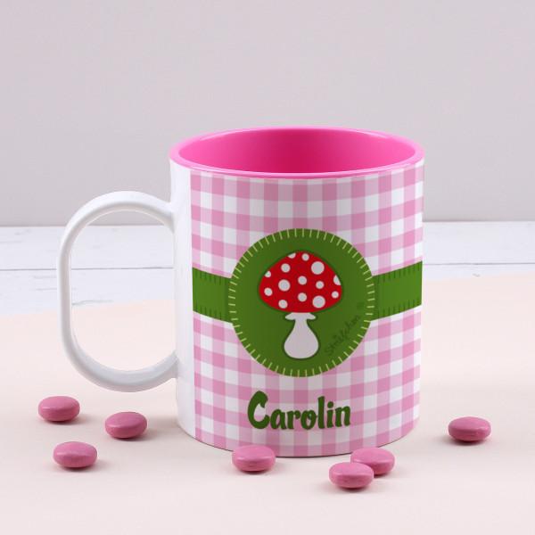Kunststofftasse innen Pink mit Glückspilz und Ihrem Wunschnamen