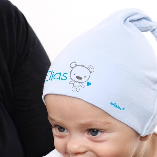 Bedruckte Babymütze mit Teddybär