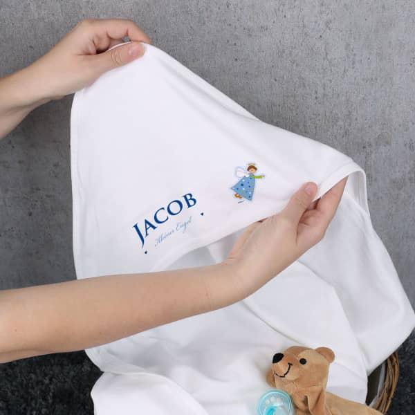 Babydecke mit Kapuze und Schutzengel