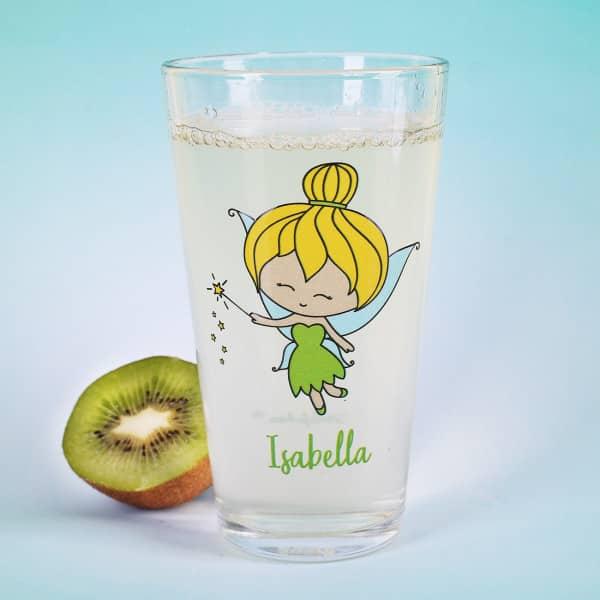 Trinkglas mit kleiner Fee und Wunschname
