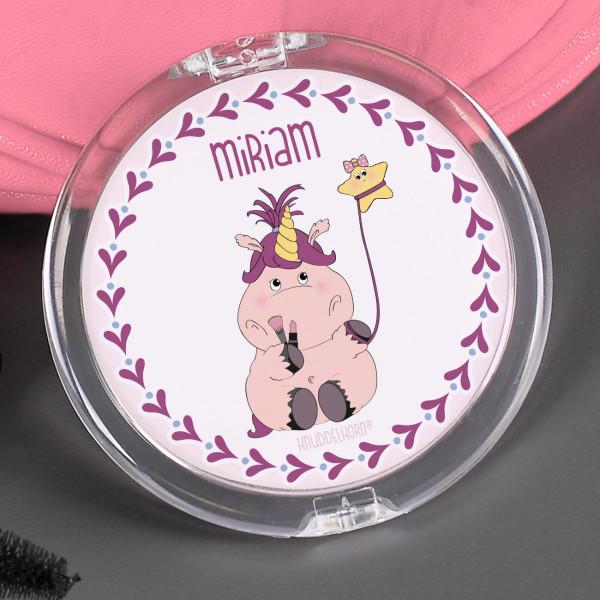 Taschenspiegel mit Beautycorn, Schnuppe und Ihrem Wunschnamen