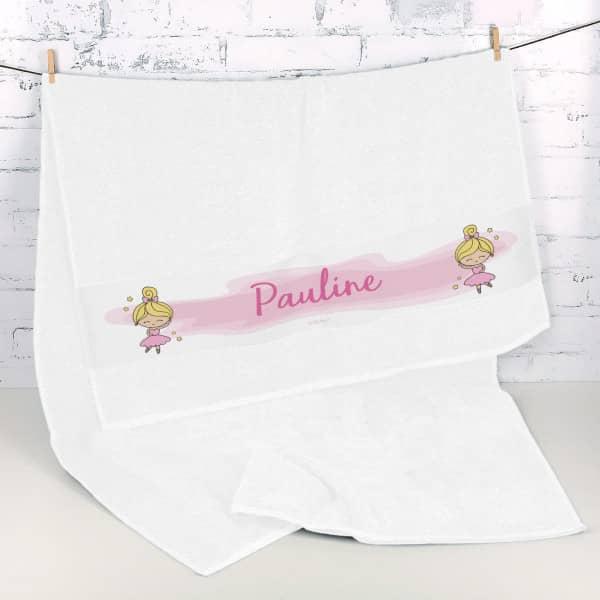 Handtuch mit Ballerina und Name