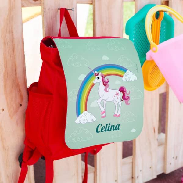 KIndergartentasche mit Einhornmotiv und dem Namen des Kindes