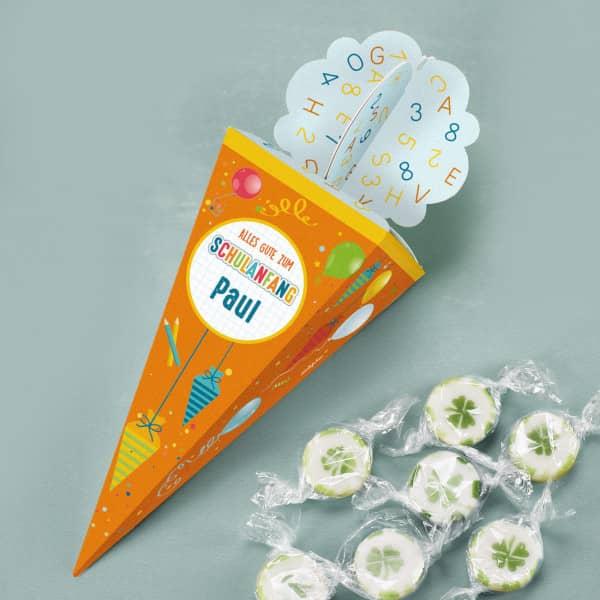 Süße Mini-Zuckertüte für Glückwünsche zum Schulanfang