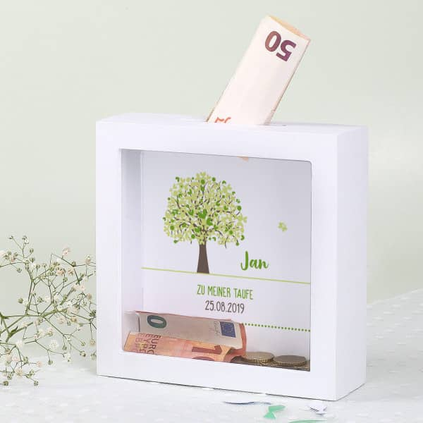 Weiße Bilderrahmen Spardose mit grünem Lebensbaum