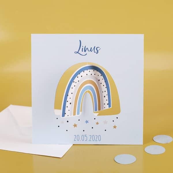 Drehkarte mit Regenbogen zur Geburt für Jungen