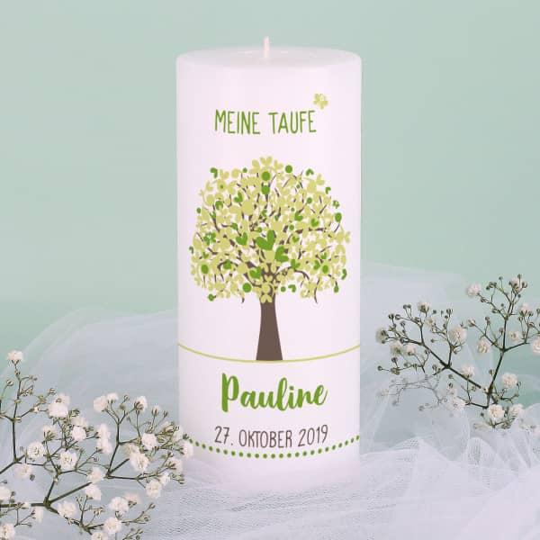 Lebensbaum Kerze zur Taufe