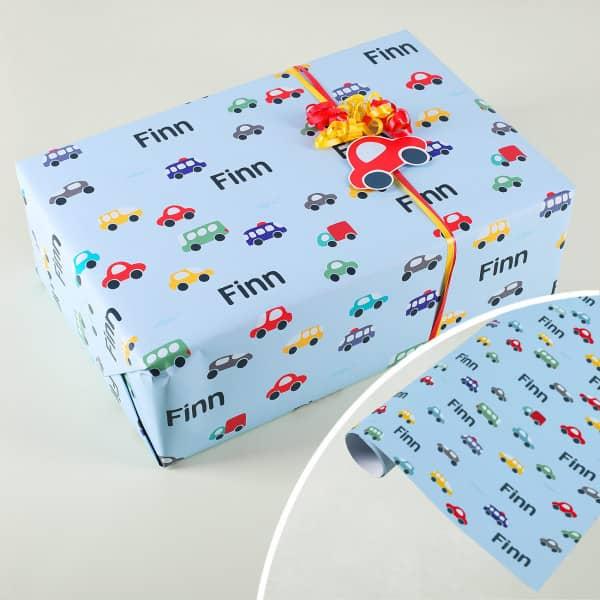Geschenkpapier für Kinder mit Autos und Wunschname
