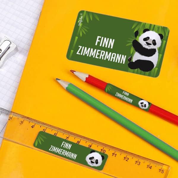 Schulaufkleber Panda, 177 Stück
