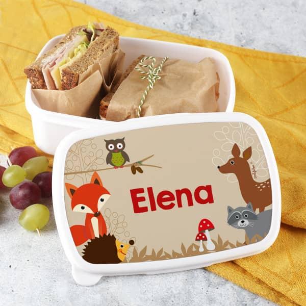Brotdose mit süßem Waldtiere Motiv und Name nach Wunsch