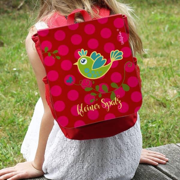 Rucksack für Kinder mit buntem Vögelchen und Name