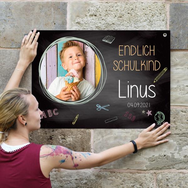 bedrucktes Foto-Banner zur Einschulung mit Personalisierung