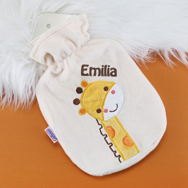 Wärmflasche für Kinder mit Giraffen Motiv und mit Name bestickt