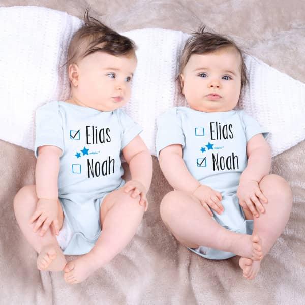 Babybodys für Zwillinge mit Namen