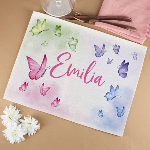 Schmetterlings Platzdeckchen mit deinem Namen