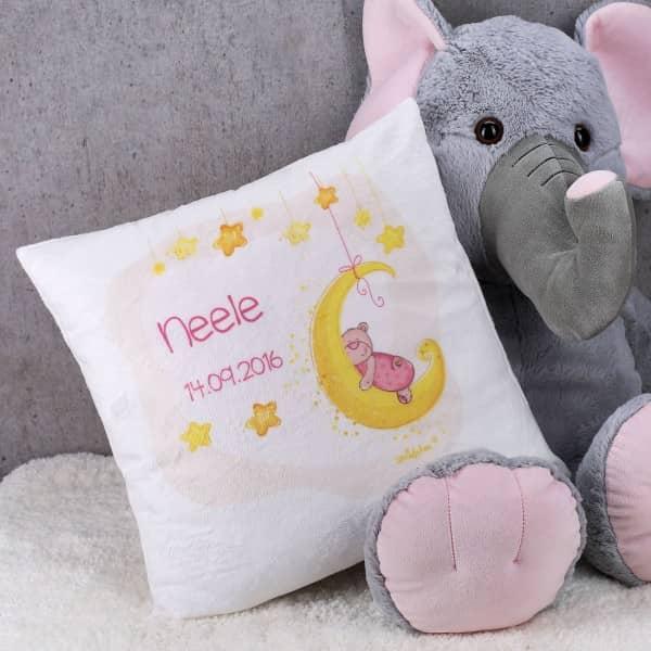Kuscheliges Kissen zur Geburt für Mädchen mit Ihrem Namen und Datum