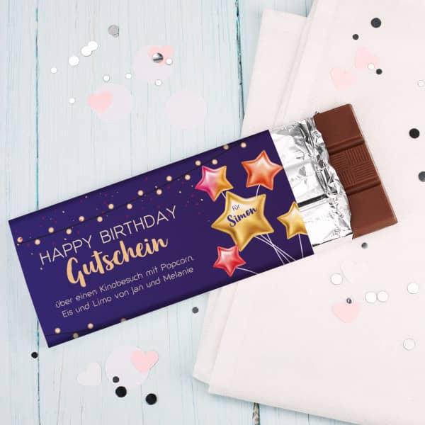 Gutschein Schokolade zum Geburtstag - Name und Wunschtext
