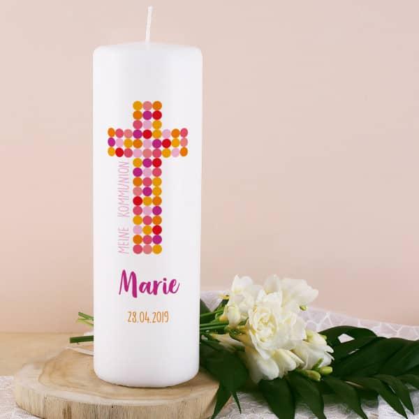 Kommunionkerze für Mädchen mit Kreuz, Name, Datum und Wunschtext