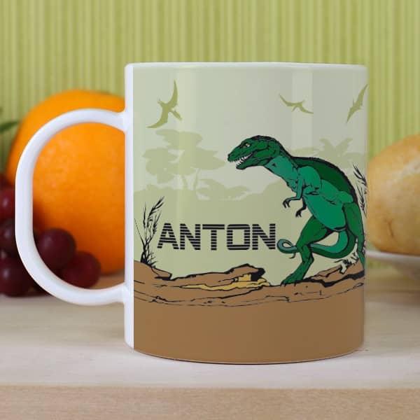 Kindertasse mit Namen - Dino Motiv