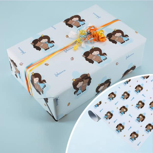 Geschenkpapier mit Prinzessin und Ihrem Wunschnamen
