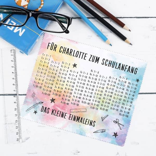 Einmaleins Brillenputztuch mit Wunschtext
