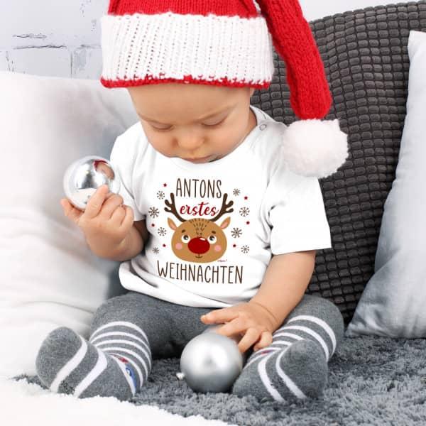 Baby T-Shirt erstes Weihnachten mit Name nach Wahl