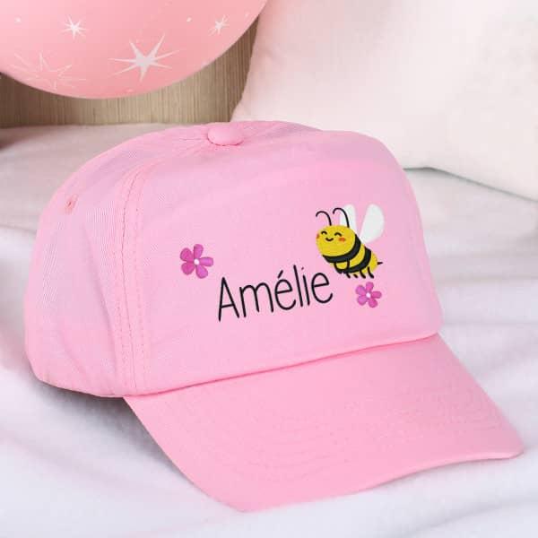 Bienchen Basecap in rosa mit deinem Namen bestickt