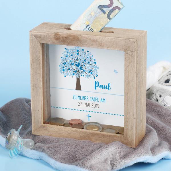 Bilderrahmen Spardose mit Lebensbaum in blau, Name, Datum und Wunschtext