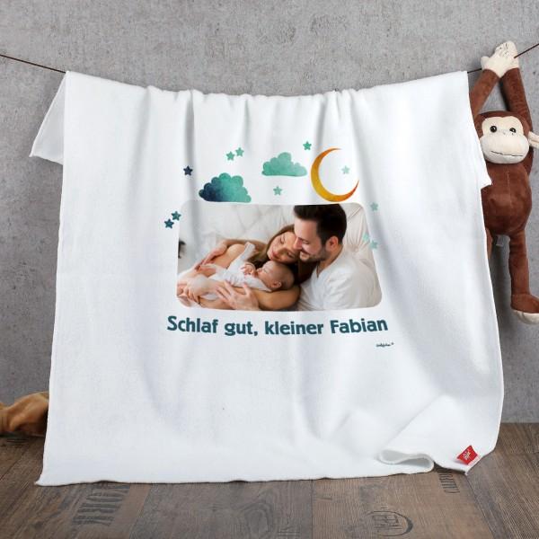 Babydecke mit Ihrem Foto und WUnschtext bedruckt