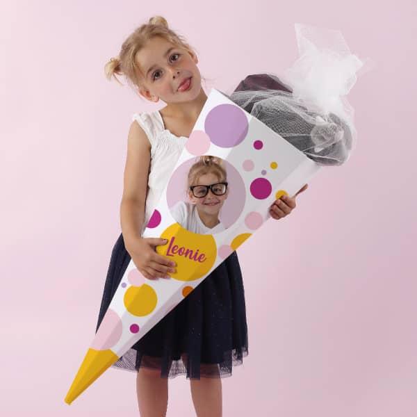 Schultüte für Mädchen mit Foto und Name