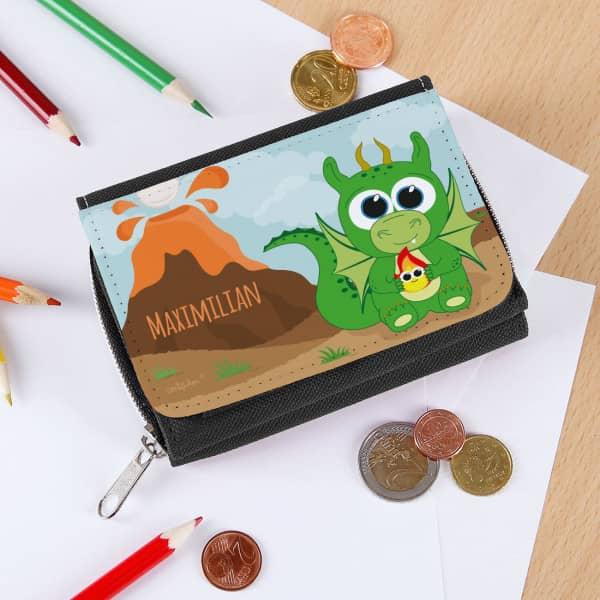 Geldbörse in schwarz für Kinder mit Drache bedruckt